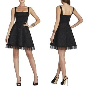 BCBGMAXAZRIA Black Cocktail Dress Strap Jacquard 6